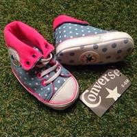 Prewalker baby shoes/ Sepatu bayi Converse Blue Polkadot keren lucu
