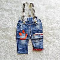 Celana Jeans Baby - Jeans Bayi Suspender Smile