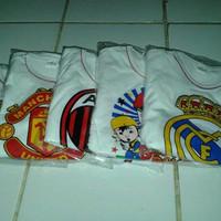 baju set anak warna putih sablon logo bola