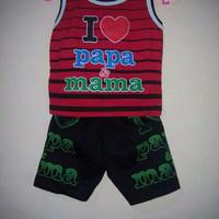 set baju anak sablon I love papa mama