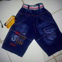 celana jeans pendek anak laki laki motif bordir