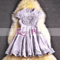 DRESS ANAK PEREMPUAN : KOREA PINK CUTE DRESS PURPLE CERUTI#2