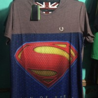Kaos Distro Logo Superman Abu dan Biru