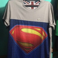 Kaos Distro Trendy Superman Abu dan Biru