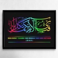 Poster Kaligrafi Surat Ar Rahman Ayat 55 - Terjemahan Bahasa Indonesia