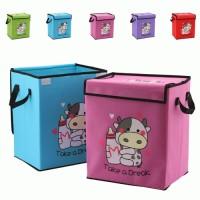 Kotak Baju Gambar Cow Print Storage Box dengan Pegangan