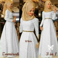 Zamirah 1 White Hijab Terbaru Gamis Terbaru Warna Putih