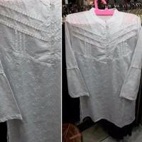 Baju Blus Muslim Putih Polos Bordir Tunik Lengan Panjang Mb7 Spesial