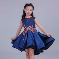 Dress Anak Mitun Embroidery Flower Navy 2-6Y | PDR308