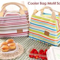 Cooler Bag Motif GARIS / SALUR Insulated Lunch Bags Tas Bekal Sekolah