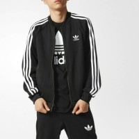 Jaket Bomber Adidas Superstar 3 Stripes Mens Black GARANSI TEBAL