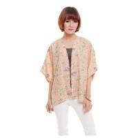 Kimono Outer Cardi Cardigan Lengan Pendek Motif Floral Pastel Peach