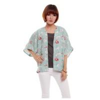 Kimono Outer Cardi Cardigan Lengan Pendek Motif Floral Pastel Tosca