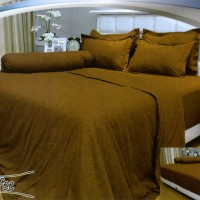 Bedcover Polos Embos Vallery 180x200 Coffee tinggi 30 ( King size )