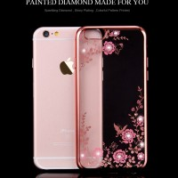 Casing Silicon Soft Case Iphone 6 6S/ 6 PLUS + Flower Bling Diamond