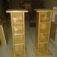Rak / Stand Speaker Sepasang atau Home Theatre Kayu Jati Belanda