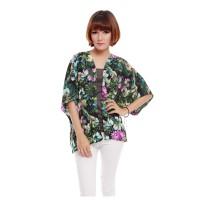Kimono Outer Outerwear Cardi Cardigan Wanita Motif Tropical