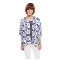 Baju Kimono Outer Outerwear Cardigan Wanita Motif Floral Biru