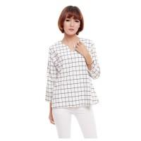 Baju Atasan Wanita Blouse Putih Lengan Panjang Grid Kotak-kotak