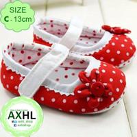 Baby Girl Prewalker Red Flower Polkadot - C 12-18 bulan / Sepatu Bayi