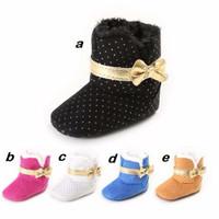 Sepatu Bayi Prewalker Premium Boot Gold Ribbon Polkadot - Sepatu bayi