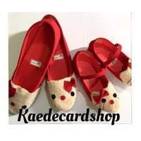 Flat Shoes Anak Perempuan - Sepatu Couple Mom And Kids Kitty Red (23-4