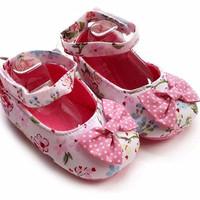 Sepatu Bayi Prewalker Flower Ribbon Polkadot - Pink