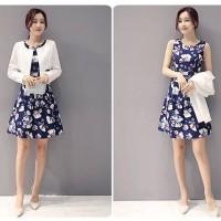 dress floral + blazer putih