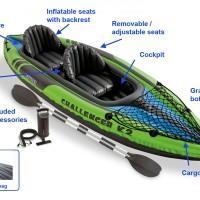 Intex Challenger K2. Perahu Karet Kayak + Dayung Aluminum Oars + Pompa