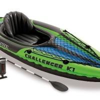 Intex Challenger K1. Perahu Karet Kayak + Dayung Aluminum Oars + Pompa