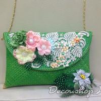Clutch pesta brukat bunga (green)