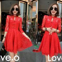 3s. [dress vanilla CR] dress wanita brukat merah
