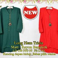 3s. [Long Hem Tricia SW] dress wanita rayon bangkok hijau dan merah