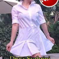 3s. [Dress Syahrini SW] dress wanita katun putih