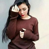 Sweater Rajut Roundhand Wanita Coklat