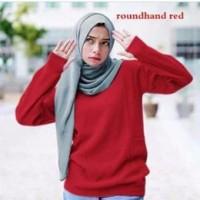 Sweater Rajut Roundhand Wanita Merah Cabe