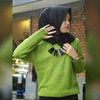 Sweater Rajut Roundhand Wanita Hijau Avocado
