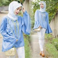 SPECIAL setelan hijab 3in1 blouse+celana+pasmina (hijab raquel blue) T