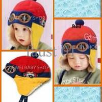 Topi Pilot Korea (Red Yellow) | Pilot Hat | Topi Anak | Topi Bayi | To