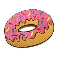 Iron Patch Donut Pastel Logo Bordir (Emblem) Ukuran L: 7cm , T: 5,5cm