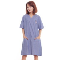 Mini Midi Dress Sackdress Denim Unicorn Patch Biru Muda