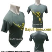 Baju Kaos Fitnes - GOLD GYM GREEN MOSS COMPRESSION