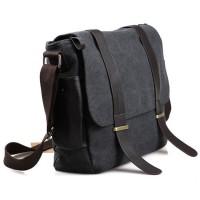 Tas Selempang Pria Korean Canvas Messenger Bag - Black/Gray