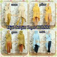 Baju Hijab Gamis Wanita Muslim Set 3in1 Layer BIDARI MURAH
