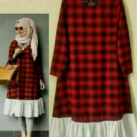 Baju Atasan Blouse Tunik Wanita Baju Muslim Tunika Tartan