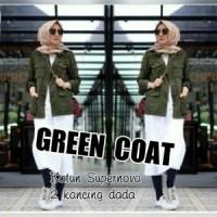 Atasan Blouse Tunik Wanita Baju Muslim Green Coat
