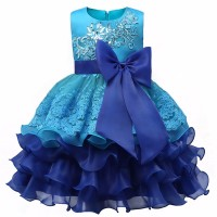 High quality Baby Kids Prom Gown Designs Dress 3-8 Year blue