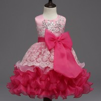 High quality Baby Kids Prom Gown Designs Dress 3-8 year Pink