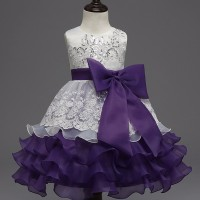 High quality Baby Kids Prom Gown Designs Dress 3-8 year purple