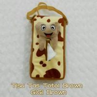 Tempat Tisu Mobil Model Tas Gantung GIGI Brown Motif TOTOL Brown